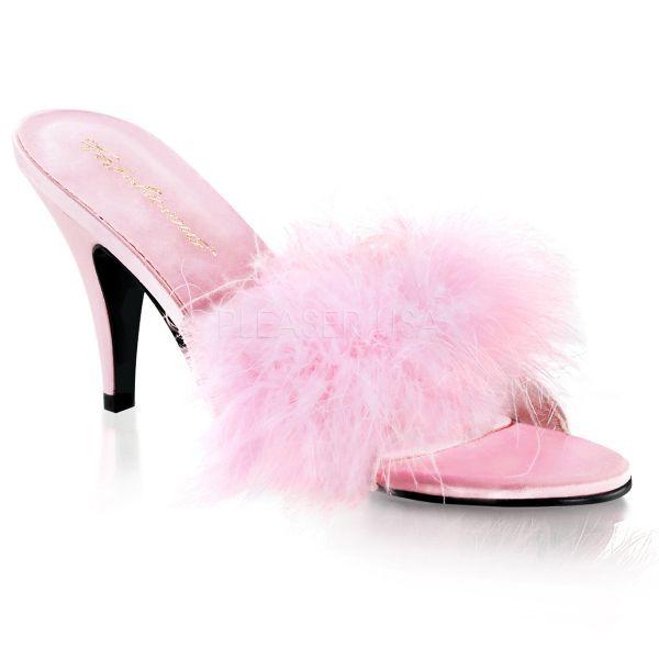 Satin Pantolette mit Marabufedern baby pink AMOUR-03